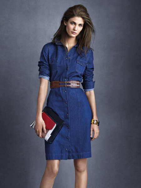 dark blue belted mini denim button up dress with black and brown clutch bag