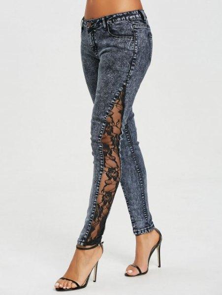 dark grey side slit lace jeans with black open toe heels