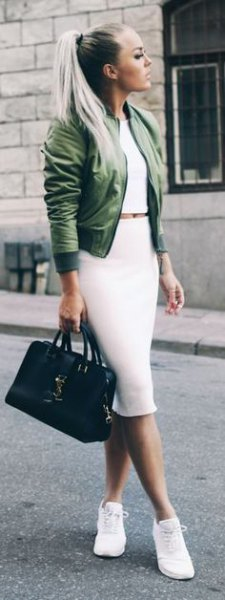 green cropped bomber jacket with white midi bodycon skirt