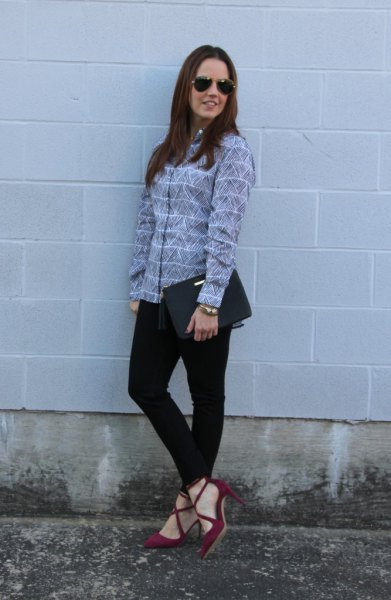 grey and white striped shirt with burgundy suede strappy dress shoes