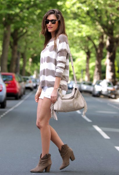 grey and white wide striped sweater with mini shorts