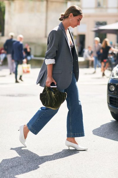 grey blazer with blue wide leg jeans and white kitten heel boots