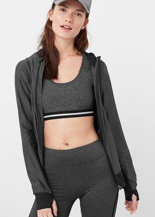 grey crop top with matching running cardigan