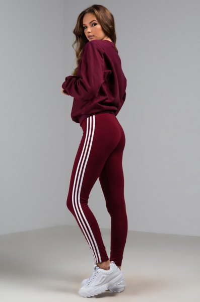 grey hoodie with burgundy adidas tights