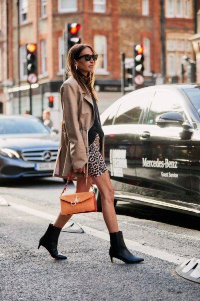 grey longline wool coat with mini printed shorts