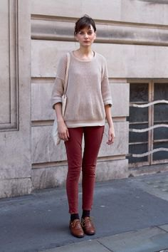 grey sweater with brown skinny jeans and oxford shoes