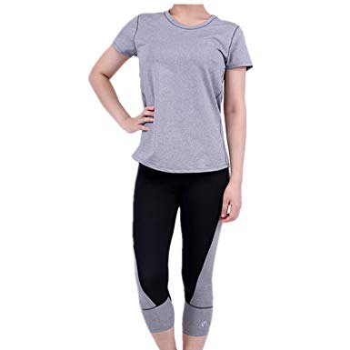 grey t shirt with black cropped leggings and white sneakers