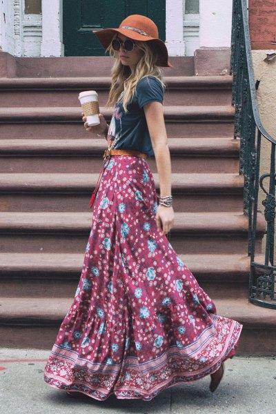 grey t shirt with floor length flowy printed skirt