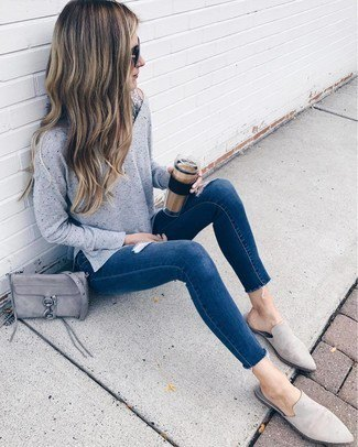 knit sweater with dark blue skinny jeans and slip on grey suede dress shoes