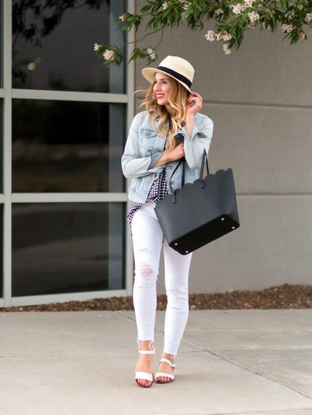 light blue denim jacket with white skinny jeans and straw hat