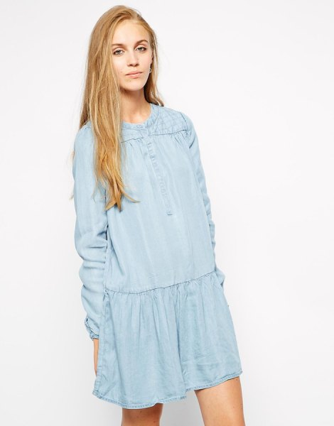 light blue mini long sleeve relaxed fit shift dress