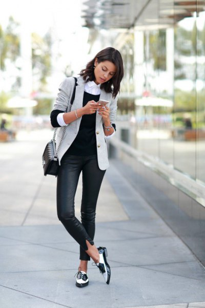 light grey blazer with dark blue skinny jeans and black and white dress shoes