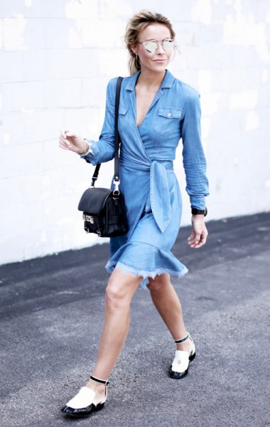 long sleeve blue tie waist denim coat dress with white and black leather shoes