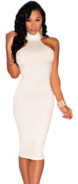 mock neck bodycon midi dress with blush bracelet