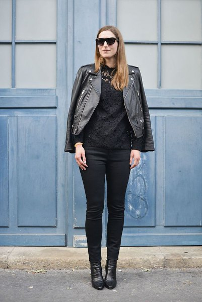 moto jacket with skinny jeans and black leather shoes