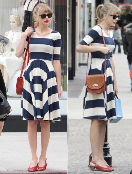 navy blue and white wide striped fit and flare dress with red open toe kitten heels