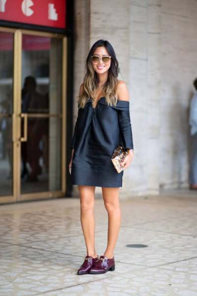 navy blue long sleeve off the shoulder mini dress with black buck shoes