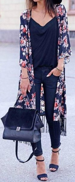 navy blue maxi chiffon cardigan with black v neck chiffon blouse