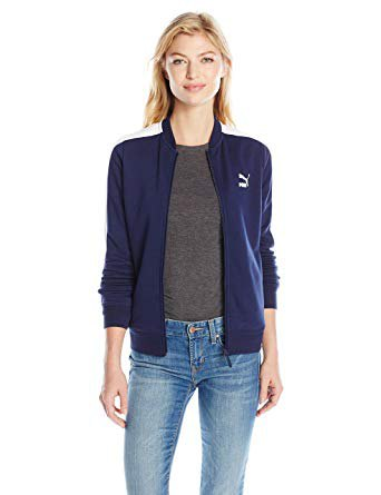 navy blue puma sports jacket with grey tee and skinny jeans