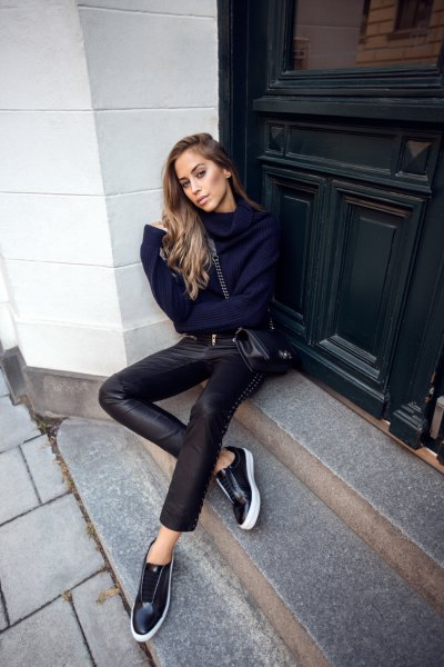 navy cowl neck knit sweater with black leather low top sneakers