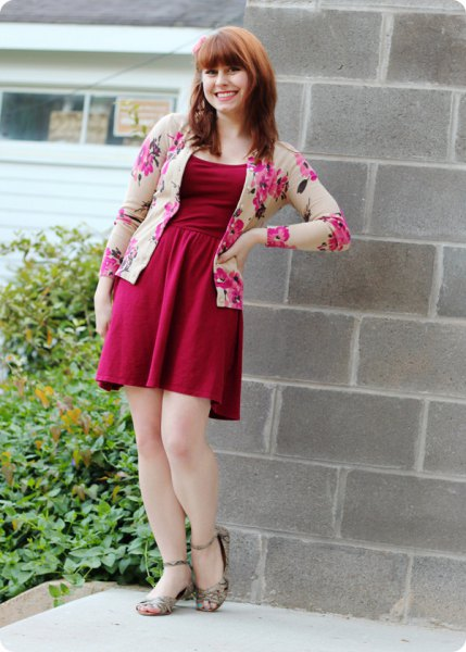 red fit and flare mini dress with blush floral printed jacket