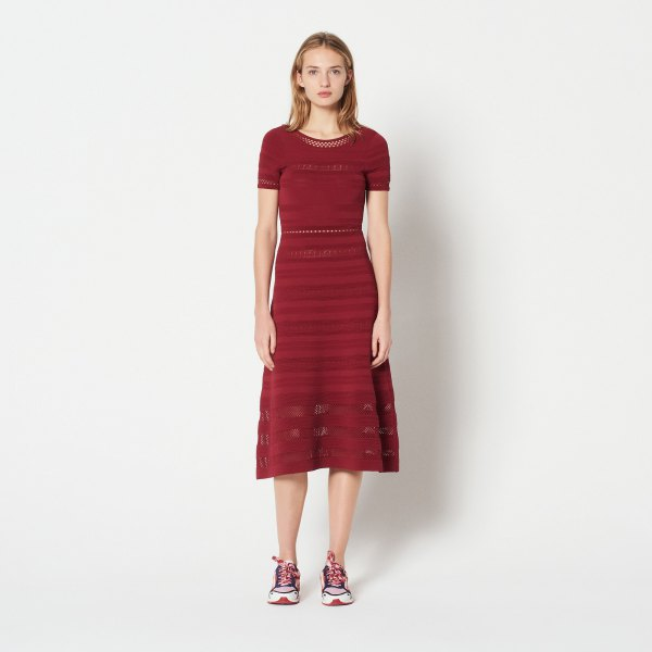 red fit and flare short sleeve mid length dress with sneakers