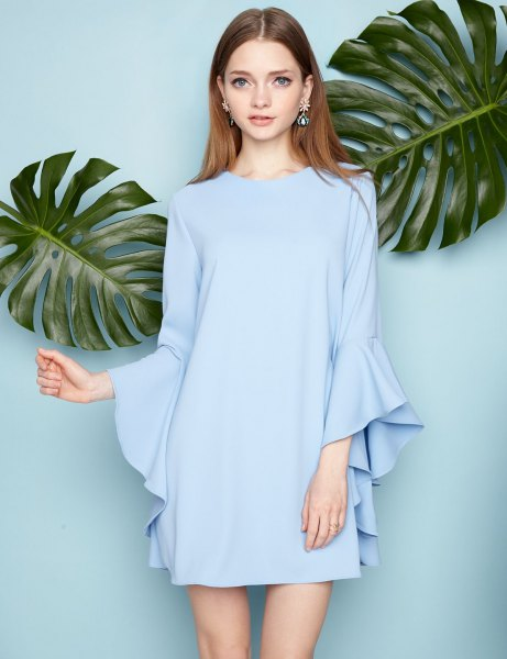 sky blue long bell sleeve mini chiffon shift dress