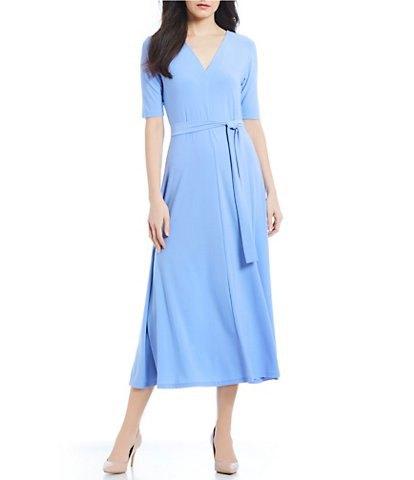 sky blue tie waist chiffon midi dress with pink heels