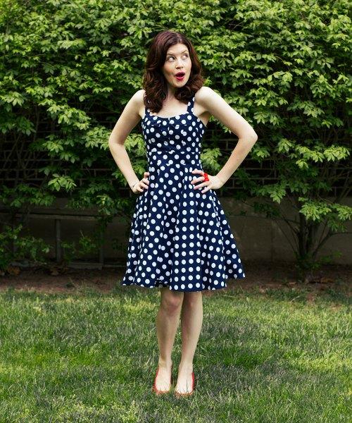 sleeveless fit and flare polka dot midi dress