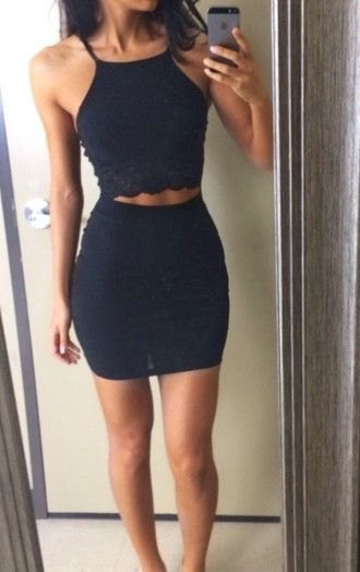 two piece black mini dress with ankle strap open toe heels