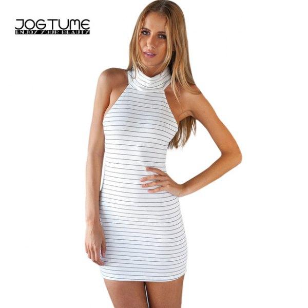 white and grey striped mock neck mini bodycon dress
