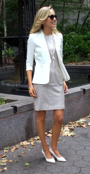 white blazer with light grey mini shift dress
