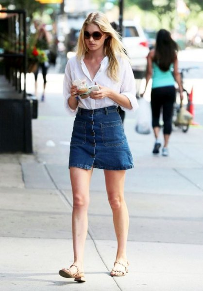 white button up shirt with blue high rise mini skirt