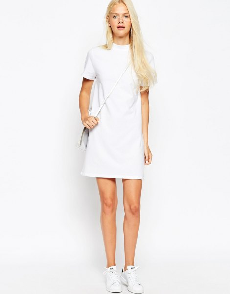 white mock neck short sleeve mini shift dress with sneakers
