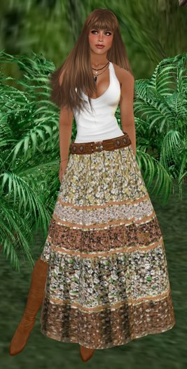 white scoop neck tank top with maxi gypsy skirt