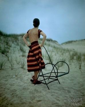 Barebacked Model and Beach Chair