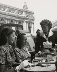 Fay Caulkins, Payne Payson, and waitress at cafŽ in front of the Paris Opera house.