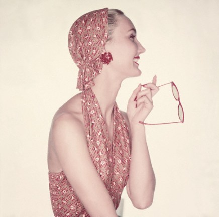 Model Wearing Halter Top and Matching Headscarf