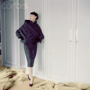 Model Wearing Tweed Sheath Dress and Stole by Christian Dior
