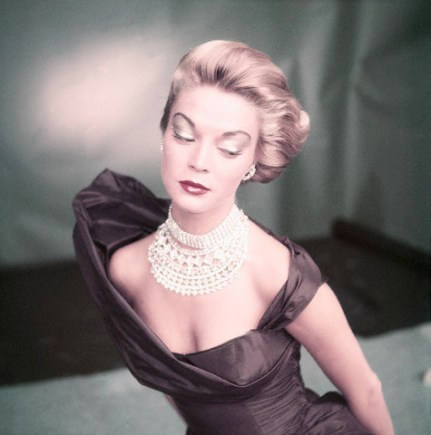 Model Wearing Satin Evening Gown and Rhinestone Choker