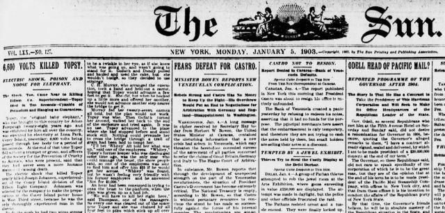 La prima pagina del Sun del 5 Gennaio 1903, con l'articolo riguardante l'esecuzione di Topsy. L'autore del pezzo è ignoto.