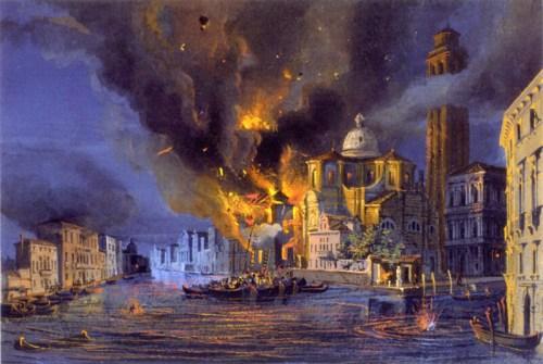 La chiesa di San Geremia a Venezia colpita dal bombardamento austriaco del 1849