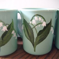 Lily of the Valley Handpainted Coffee Cups