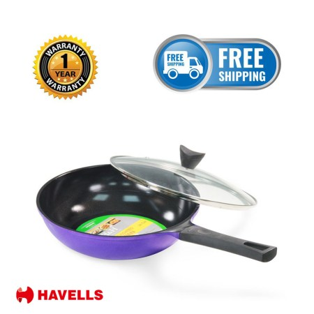 H&H 24/26/28 cm Ceramic Coated Non-Stick Fry pan With lid (Black & Purple)
