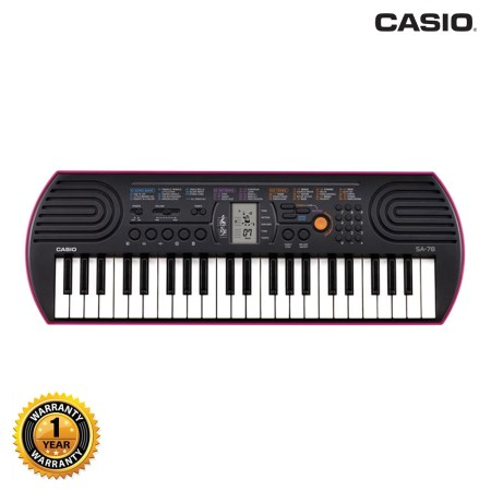 Casio SA-78 Portable Musical Keyboard Piano - Black & Magenta with Adapter