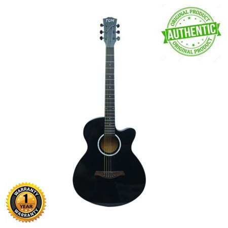 TGM Acoustic Guitar - Black With Picks and Bag