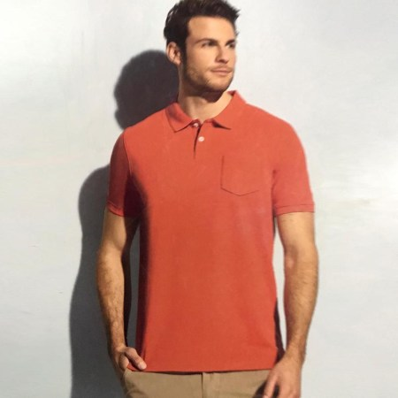 Men's Short Sleeve Polo Shirt with Sun Bleached (UK-02)