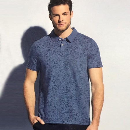 Men's Short Sleeve Polo Shirt with Sun Bleached (UK-04)
