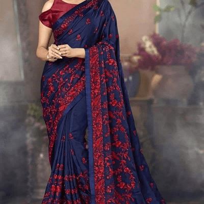 Embroidery Work Georgette Sharee With Matching Blouse Piece (RF-3)