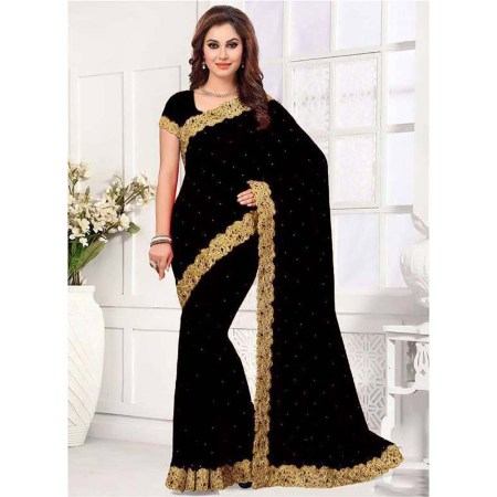 Black Embroidery Georgette Sharee (002)